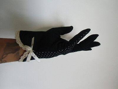 Gants tissu mi saison noir à pois agrippants noeud pinup un doigt tactile rétro