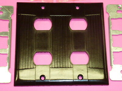 Nos Eagle Interchange 2-Gang Brown Ribbed Bakelite Wall Plate, Horizontal 4-Hole