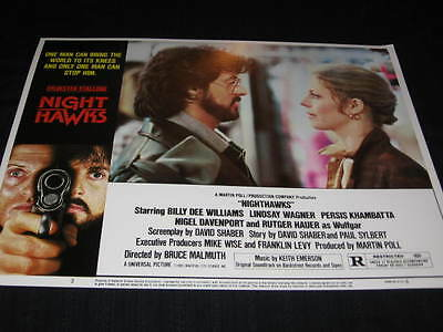 Nighthawks Sylvester Stallone Lindsay Wagner Terrorist Original U.s. Lobby Card