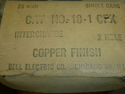 Nos! (2) Bell Interchange Single Gang Copper Finish Wall Plate, Horizontal