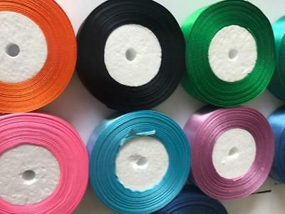 25 Metres Satin Ribbon 25mm 15mm 10mm 38mm 6mm Double Sided 10