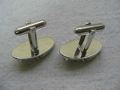 Wonderful Vintage Silver Tone PEELED BACK DESIGN Clear Jewel Men's Cufflinks ~