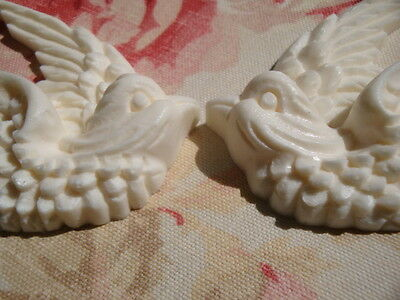 Shabby & Chic Swallow Bird Furniture Appliques 1 Pair L/R Architectural Onlay 2
