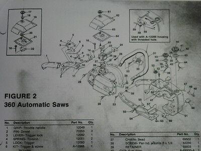 Homelite 360 Chain Saw Parts List Manual Part 17080 Rev 1 360hg