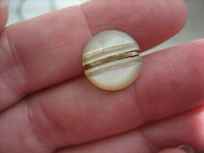 "Vintage Small 1/2 "" MOP Mother Of Pearl Shell Button, Brass Band, Shank - PD124 2"