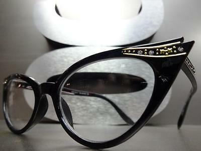 190b7031d8 ... New CLASSIC VINTAGE 60s CAT EYE Style Clear Lens EYE GLASSES Black Fashion  Frame 2