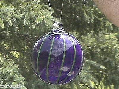 """Hanging Glass Ball 4"""" Diameter Cobalt Blue with Lime Lines (1) HB14"""