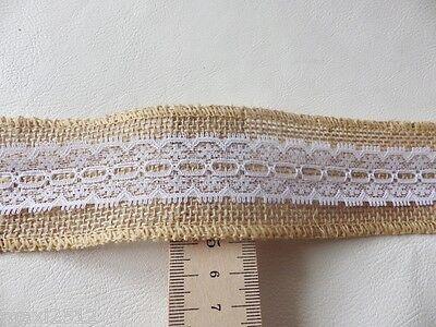 1m or 3mts Rustic Christmas Decor Natural Lace Edge Hessian Burlap Jute Ribbon