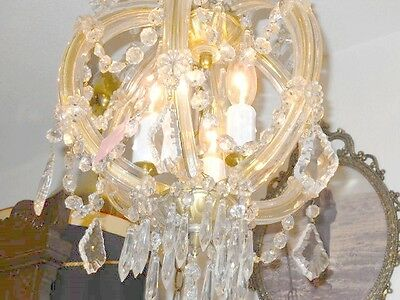 Antique Round 3 Light Crystal Chandelier w/ Unique Prisms, Glass Over Brass Arms 7