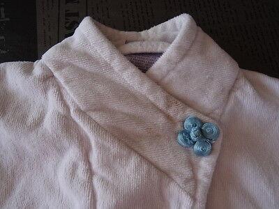 Peignoir kimono blanc  en éponge motif ronds et fleurs CARRE BLANC Taille 2 ans 3