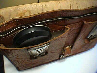 1717/  Leder Aktentasche Tasche Antik Vintage Accessoires 9