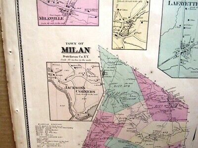 1867 Town & Villlage Maps Milan, Dutchess Co. Ny Beers Atlas Hand Colored 3