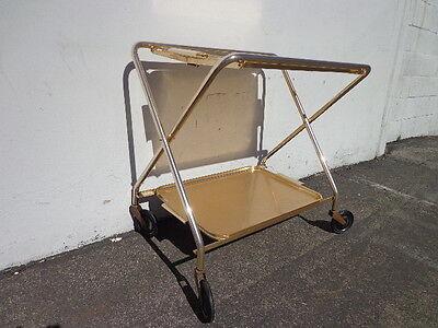 Mid Century Bar Cart Woodmet Folding Gold Copper Brass Vintage MCM Tea Serving 7