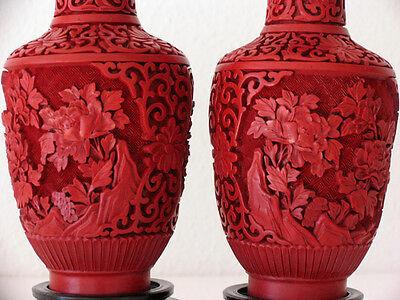 big 20th Pair of Vases - Mirror inverted Original Chinese Cinnabar Lacquer RARE 2