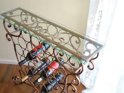 Handmade Iron Elegant French Wine Bottle Rack Storage Console Glass Top Table CP