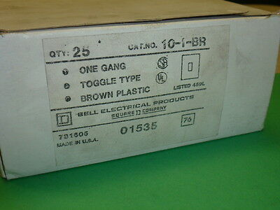 NOS! LOT of (25) BELL ELECTRIC BROWN 1 GANG SINGLE SWITCH PLATES, CAT # 10-01-BR 3