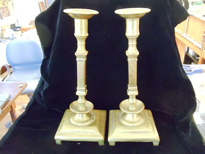 Antique Pair Brass Possibly Russian Candle Stick Holder  Imperial 2