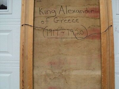 "King Alexander of Greece 1917 1920 Huge Oil Painting 81""  tall Signed by artist 10"