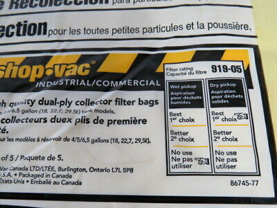 Shop-Vac Canada Collection Filter Bag For Fine Particles & Dust 5/Bag ! NWB ! 4