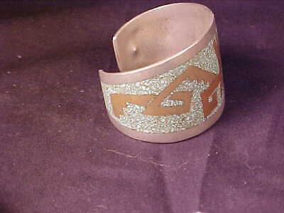 Taxco Mexico Cuff Bracelet  native motif Alpaca silver with brass/stones inlays 3