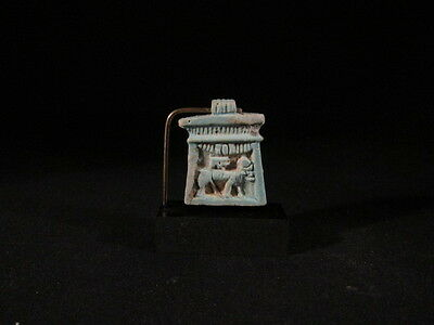 Ancient Egyptian faience Apis pectorial amulet, fine detail- late period -