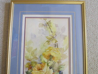 Vintage Yellow Roses Long  Flowers Water Color Painting Framed Signed Mystery 2