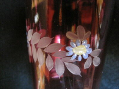 Vintage Matching Pair 1800's Victorian Cranberry Glass Floral Enameled Tumblers 5