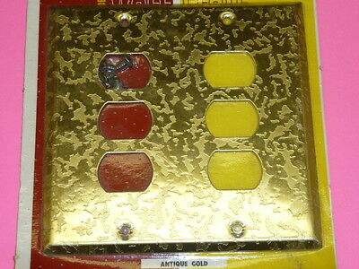 Nos! Bell Interchange 2-Gang Antique Gold Finish Wall Plate, 6-Hole, 19-2-Agz 2
