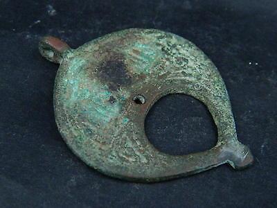 Ancient Bronze Pendant Islamic 1000 AD #B1048 3