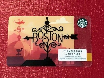 """NEW Mint Starbucks BOSTON """"Wrought Iron"""" Gift Card 2018 - Limited Edition"""