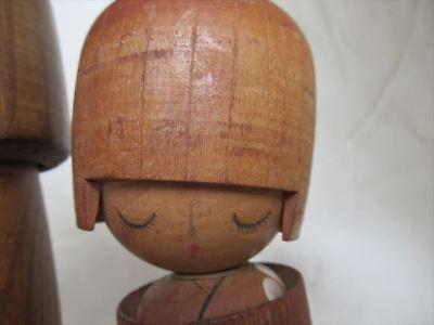 Cute kokeshi Japanese antique wooden doll 2 set 6