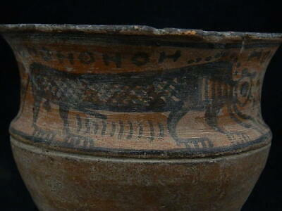 Ancient Large Size Teracotta Painted Pot With Lions Indus Valley 2500 BC #PT219 2