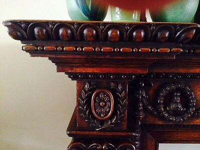 Beautiful Carved Antique Oak Mantel 6
