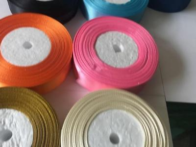 25 Metres Satin Ribbon 25mm 15mm 10mm 38mm 6mm Double Sided 3
