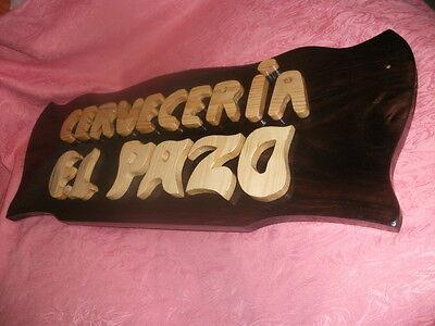 LETRERO CARTEL de madera personalizado, ARTESANAL. 1 metro de largo