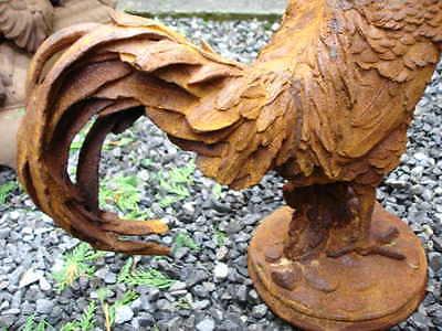 COQ , très beau coq en fonte haut 40 cm , tous en relief , superbe ! statue coq