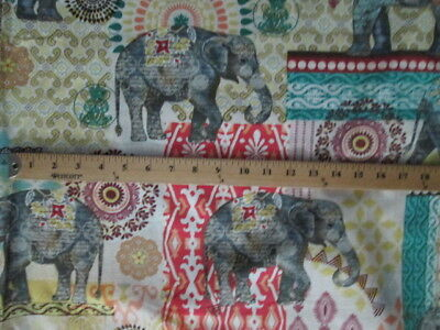ELEPHANT MANDELA ELEPHANTS CREAM DESIGN COTTON FABRIC FQ