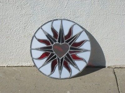 """leaded stained glass round window hanging floral patern & heart 12"""" round 2"""