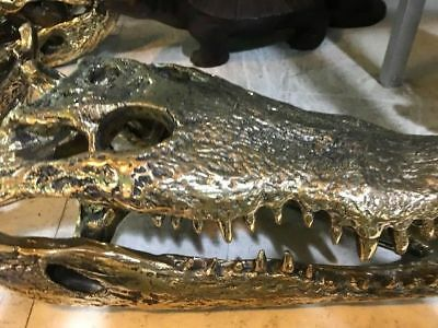 50cm Crocodile skull solid brass large heavy decoration hand made large amazingB 9