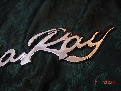 """SEA RAY SEARAY SCRIPT CHROME EMBLEM BADGE BOAT LOGO  12-3//4/"""" NEW HAPPY BOATING!!"""