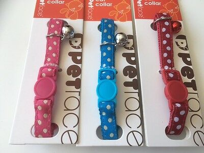 Polka Dot Safety Cat Collar with Bell / Pink Flower Design Cat Collar 2