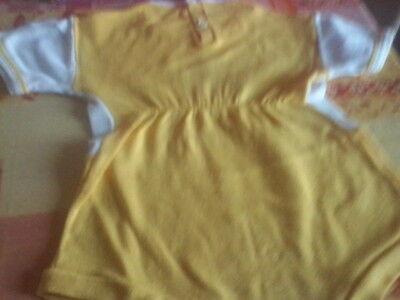 Vestitino giallo bimba neonata 3 mesi 62 cm giallo e bianco 2