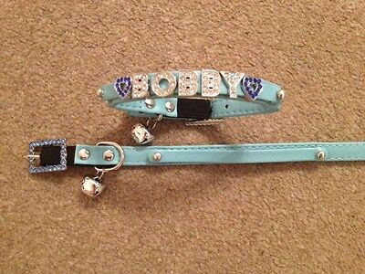 PERSONALISED Cat/Kitten Collar. With SAFETY ELASTIC and RHINESTONE BLING BUCKLE 5