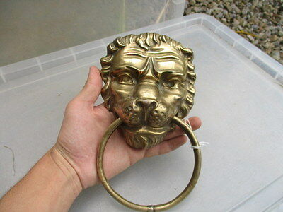Old Brass Lion Head Door Knocker Handle Pull Loop Vintage Architectural Salvage 4