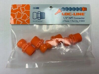 """1/2"""" Male NPT Connectors for 1/2""""Loc-Line® USA System Pack of 4 pieces #51805 3"""
