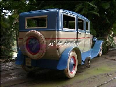 Riesige 34 Cm Lange 4 Türige Lithopgarhierte Blech Limousine Uhrwerkaufzug 3