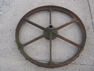 "Vintage Rustic Rusty Iron Farm Implement Wheel  farm decor 31 1/2"" diameter 6"