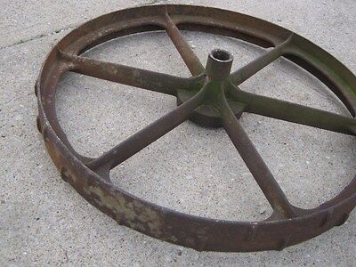 "Vintage Rustic Rusty Iron Farm Implement Wheel  farm decor 31 1/2"" diameter 8"