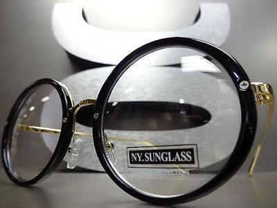 efe6d89e7bd9 ... CLASSIC VINTAGE 50 s RETRO Style Clear Lens EYE GLASSES Round Black    Gold Frame 2
