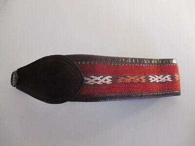 DANNIJO  Red Crochet Brown leather Morocco Waist Belt Sz 32.5 Long 12